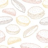 Hamburger graphic fast food color sketch seamless pattern background illustration vector Royalty Free Stock Photo