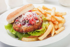 Hamburger with grated cheese Stock Images