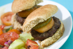 Hamburger grelhados do slider foto de stock