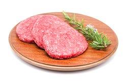 Hamburger grezzo Fotografia Stock Libera da Diritti
