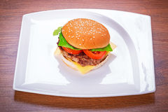 Hamburger with grilled beef Stock Photo