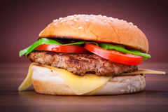 Hamburger with grilled beef Royalty Free Stock Photo