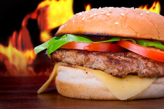 Hamburger with grilled beef Stock Photography
