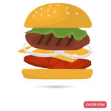 Hamburger with grilled cutlet color icon for web and mobile design Royalty Free Stock Photography