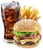 Hamburger, grula dłoniaki, kola napój Takeaway jedzenie obraz stock