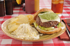 Hamburger with guacamole Stock Photo