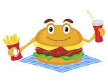 Hamburger hält Pommes-Frites und Getränk Stockbilder
