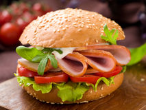 Hamburger with ham Stock Images