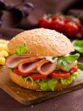 Hamburger with ham Royalty Free Stock Image