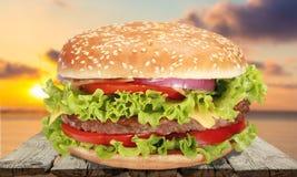 Hamburger. Burger meat food lettuce american culture tomato stock images