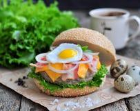 Hamburger, hamburger con manzo arrostito, uovo, formaggio, bacon e verdure Fotografie Stock Libere da Diritti