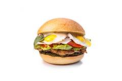 Hamburger, hamburger op witte achtergrond Stock Foto