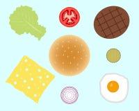 Hamburger of hamburgeringrediënten op achtergrond worden geïsoleerd die Royalty-vrije Stock Afbeelding