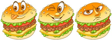 hamburger hamburgery cheeseburger Fasta food pojęcie royalty ilustracja