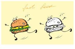 Hamburger. Hand drawing, vector illustration Stock Photos