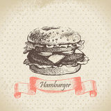 Hamburger. Hand drawn vintage illustration Royalty Free Stock Image