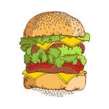 Hamburger Hand getrokken schets Royalty-vrije Stock Foto's