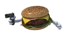 Hamburger with hands and gun Royalty Free Stock Photos