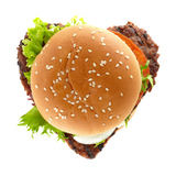 Hamburger heart Royalty Free Stock Image