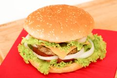 Hamburger. Home made hamburger with onion, tomato, lettuce, cheese . close-up Royalty Free Stock Images