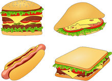 Hamburger, hot dog, sandwich and pitta with cheese, tomato, meat Royalty Free Stock Photos