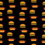 Hamburger and hot dog seamless pattern. Royalty Free Stock Photo