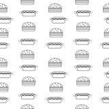 Hamburger and hot dog seamless pattern. Stock Photo