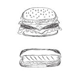 Hamburger and hot dog in sketch style on white background Royalty Free Stock Photography