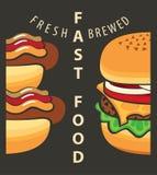 Hamburger and hot dog Royalty Free Stock Photos