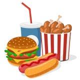 Hamburger, hotdog, kurczaków skrzydła i napoju zbliżenie, Obraz Stock