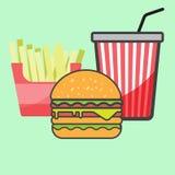 Hamburger i czerwony papierowej filiżanki napój Obraz Royalty Free