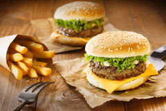 Hamburger i dłoniaki Fotografia Stock