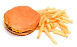 Hamburger i francuz Smażymy Odosobnionego na Białym tle Obraz Stock