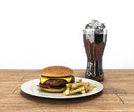 Hamburger i szkło kola z lodem na kolorze drewniany stołowy Fre ilustracji