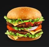 Hamburger, icône réaliste du vecteur 3d illustration de vecteur