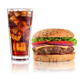Hamburger with iced soda drink on white background Stock Images