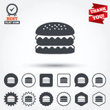 Hamburger icon. Burger food symbol Royalty Free Stock Photography