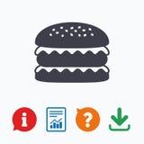 Hamburger icon. Burger food symbol Royalty Free Stock Photos