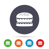 Hamburger icon. Burger food symbol. Cheeseburger sandwich sign. Round colourful buttons with flat icons. Vector Royalty Free Stock Image