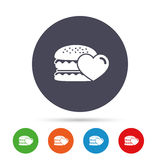Hamburger icon. Burger food symbol. Cheeseburger sandwich sign. Round colourful buttons with flat icons. Vector Stock Photos