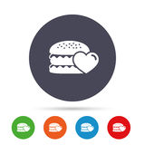 Hamburger icon. Burger food symbol. Cheeseburger sandwich sign. Round colourful buttons with flat icons. Vector Stock Photography