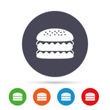 Hamburger icon. Burger food symbol. Cheeseburger sandwich sign. Round colourful buttons with flat icons. Vector Royalty Free Stock Images