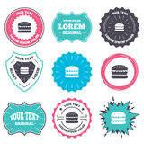 Hamburger icon. Burger food symbol. Label and badge templates. Hamburger icon. Burger food symbol. Cheeseburger sandwich sign. Retro style banners, emblems Stock Images