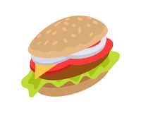 Hamburger Icon in flat. Burger with Meat, Cheese Royalty Free Stock Image