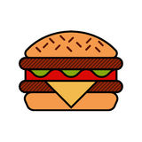 Hamburger icon with meat, lettuce, cheese and Royalty Free Stock Image