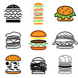 Hamburger icons vector set Stock Photos