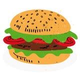 Hamburger vector. Illustration of a tasty hamburger isolated on white background + vector eps file Stock Photography