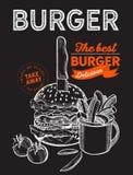 Hamburger ilustracja dla karmowej restauracji i ci??ar?wka na rocznika tle obrazy stock