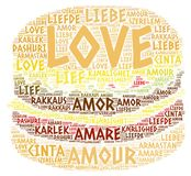 Hamburger ilustrado com palavra do amor Foto de Stock