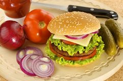 Hamburger with ingredients Royalty Free Stock Photos